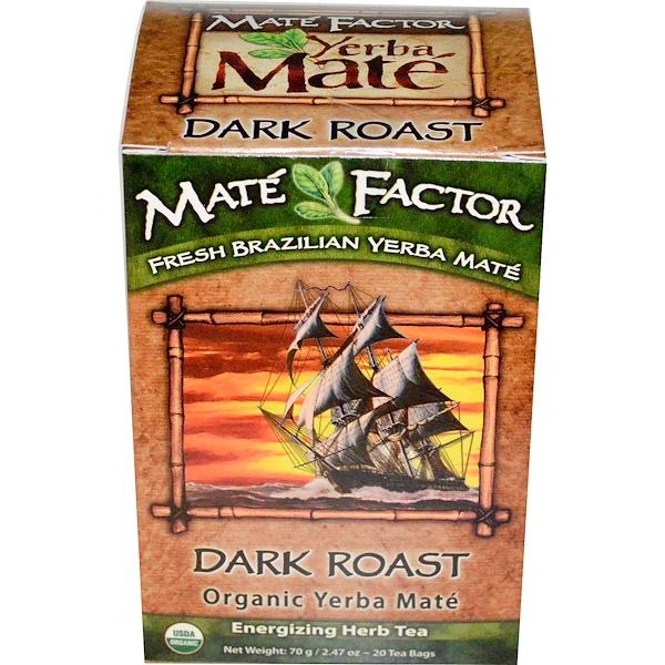 Mate Factor, オーガニック イェルバ・メイト, ダークロースト, 20 ティーバッグ, 2.47 オンス (70 g) (Discontinued Item)
