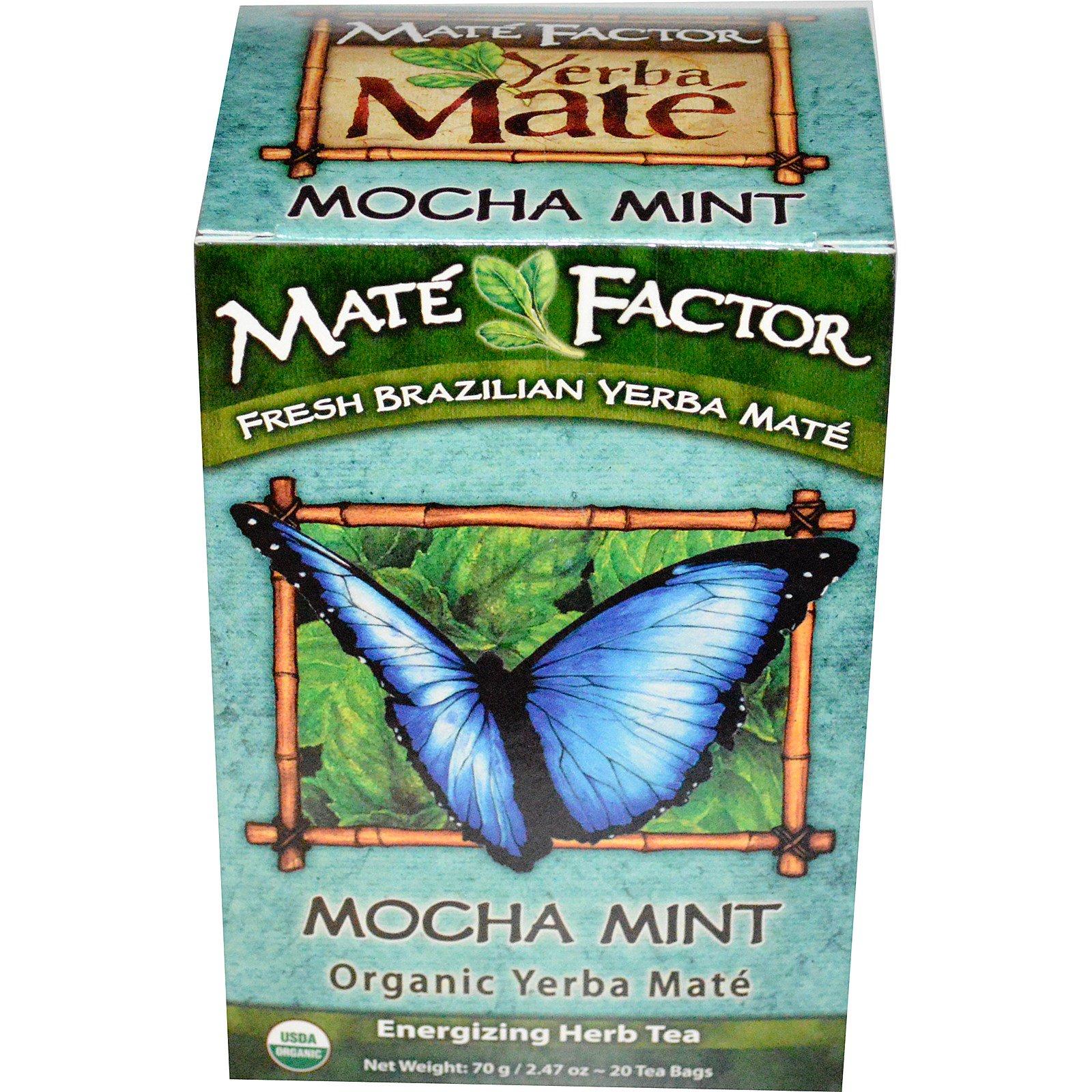 Mate Factor, Органическое Йерба матэ, мокка мята, 20 пакетиков, 2,47 унции (70 г)