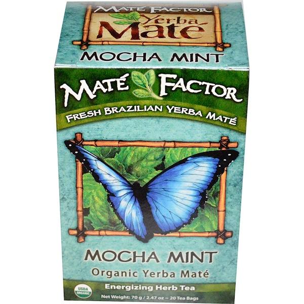 Mate Factor, Organic Yerba Maté, Mocha Mint, 20 Tea Bags, 2.47 oz (70 g) (Discontinued Item)
