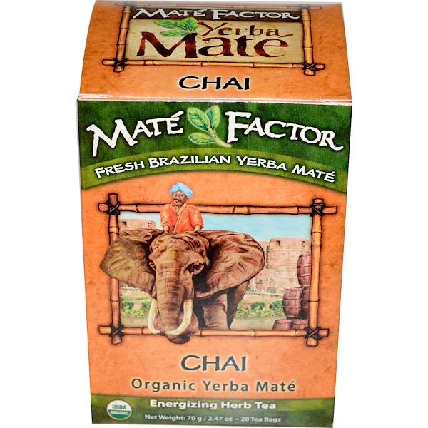 Mate Factor, オーガニック イェルバ・メイト, チャイ, 20 ティーバッグ, 2.47 オンス (70 g) (Discontinued Item)