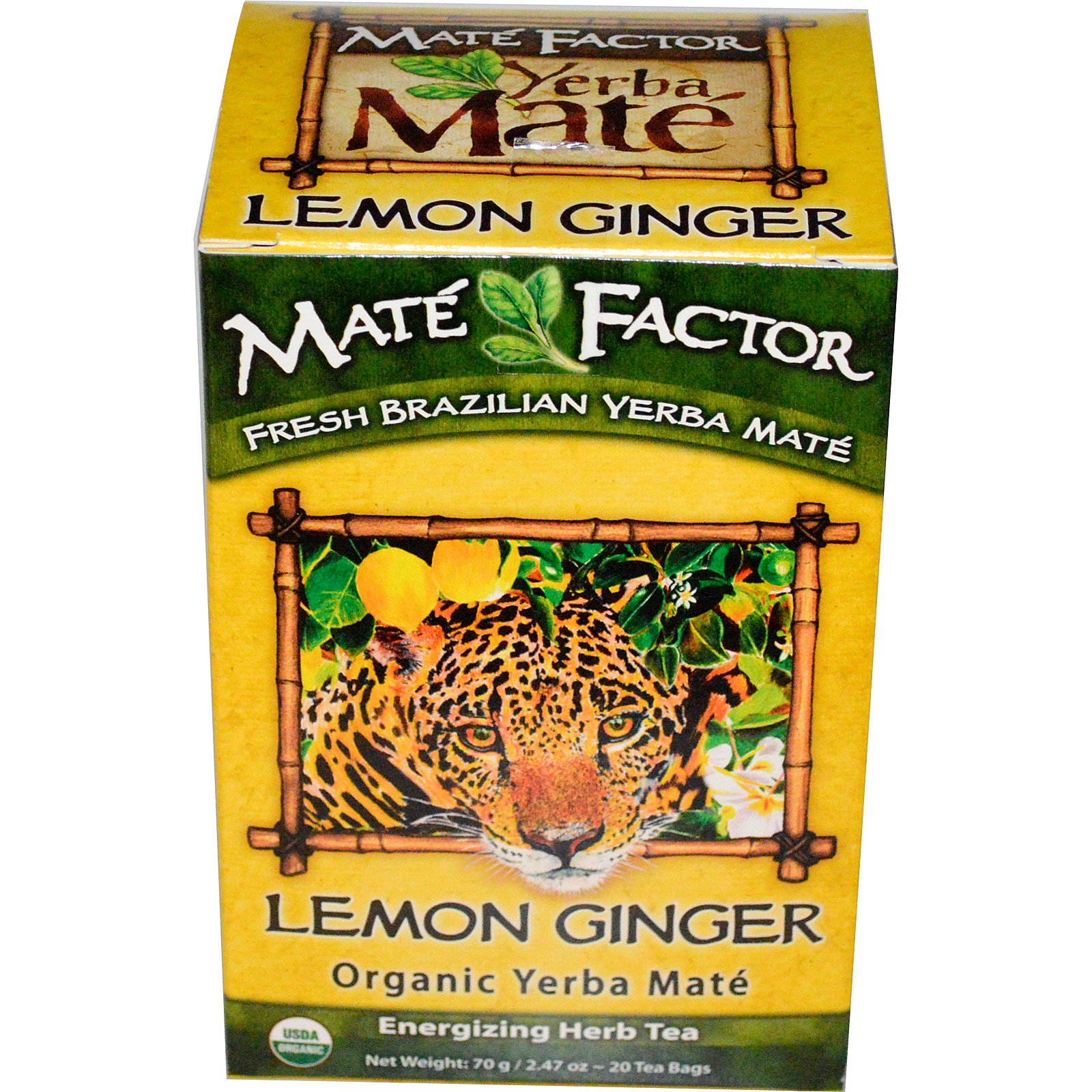 Mate Factor, Органическое Йерба матэ, лимон имбирь, 20 пакетиков, 2,47 унции (70 г)