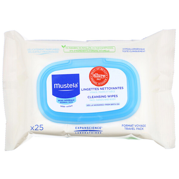 Mustela, Cleansing Wipes, 25 Wipes