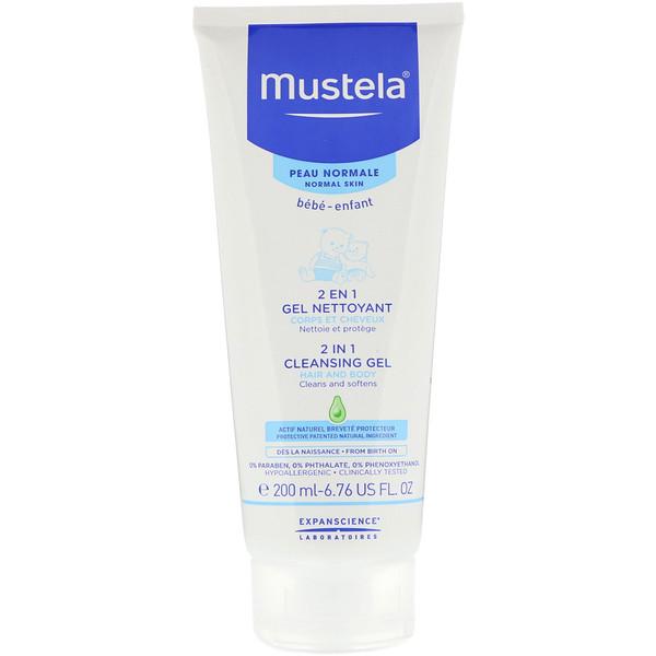Mustela, Bebê, gel de limpeza 2 em 1, para pele normal, 6,76 fl oz (200 ml) (Discontinued Item)