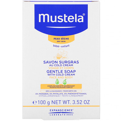 Купить Mustela Baby Gentle Soap with Cold Cream, 3.52 oz (100 g)