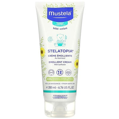 Купить Mustela Stelatopia, Emollient Cream with Sunflower, Fragrance Free, 6.76 fl oz (200 ml)