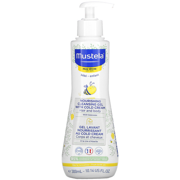 Mustela, Baby, Nourishing Cleansing Hair and Body Gel with Cold Cream, For Dry Skin, 10.14 fl oz (300 ml)