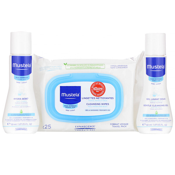 Mustela, Bebe on the Go, Travel Set, 3 Piece Set