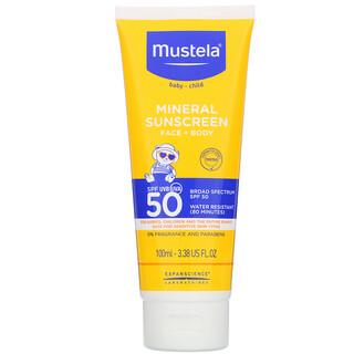 Mustela, Baby, Mineral Sunscreen, Face + Body, SPF 50, 3.38 fl oz (100 ml)