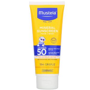 Mustela, Baby, Mineral Sunscreen, Face + Body, SPF 50, 3.38 fl oz (100 ml) отзывы