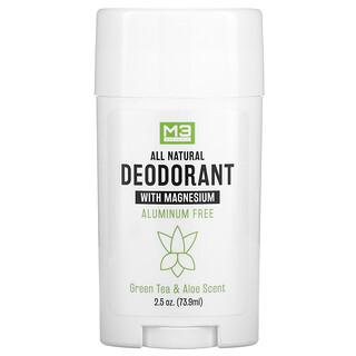 M3 Naturals, All Natural Deodorant, Green Tea & Aloe, 2.5 oz (73.9 ml)