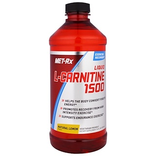 MET-Rx, Liquid L-Carnitine 1500, Natural Lemon Flavor, 16 fl oz (473 ml)