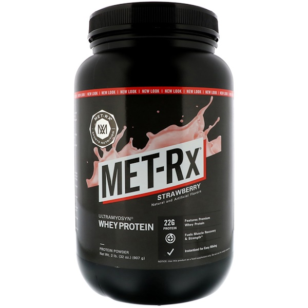 MET-Rx, 100% Ultramyosyn Whey Protein, Strawberry, 2 lbs (907 g) (Discontinued Item)