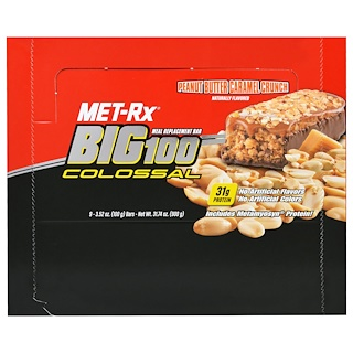 MET-Rx, Big 100 Colossal, Meal Replacement Bar, Peanut Butter Caramel Crunch, 9 Bars, 3.52 oz (100 g) Each