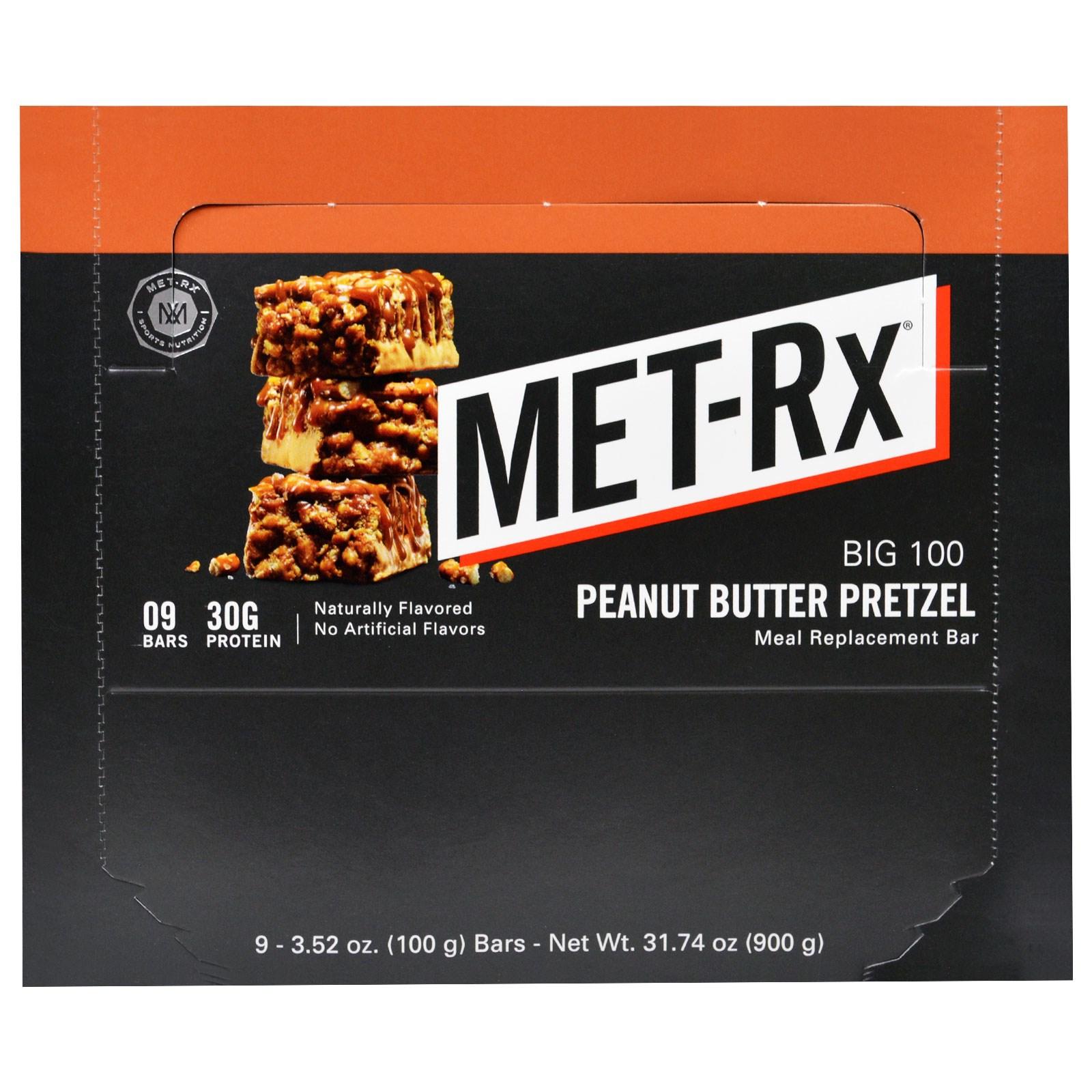 MET-Rx, Big 100, Батончик Вместо Еды, Крендель с Арахисовым Маслом , 9 батончиков, по 3,52 унции (100 г) каждый