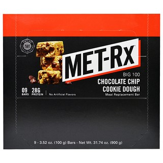 MET-Rx, Big 100, Meal Replacement Bar, Chocolate Chip Cookie Dough, 9 Bars, 3.52 oz (100 g) Each