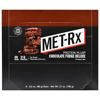 MET-Rx, Protein Plus, Chocolate Fudge Deluxe, 9 Bars, 3.0 oz (85 g) Each