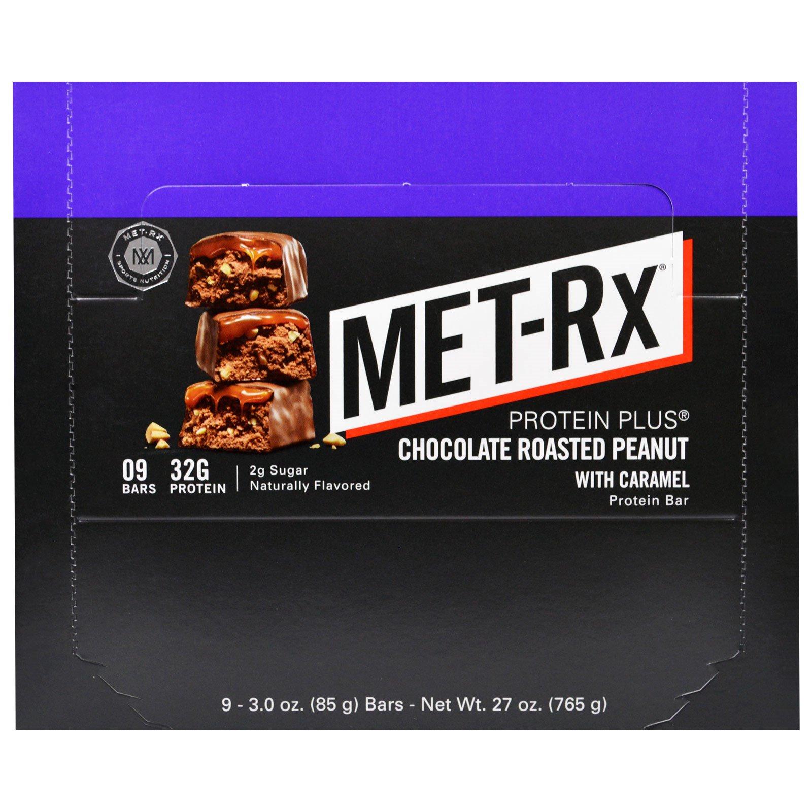 MET-Rx, Батончик Протеин Плюс, Шоколад с Жареным Арахисом и Карамелью, 9 батончиков, 3,0 унции (85 г) каждый