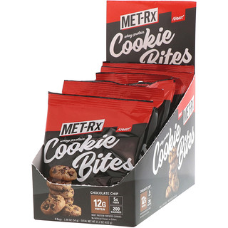 MET-Rx, Whey Protein Cookie Bites, Chocolate Chip, 8 Bags, 1.90 oz (54 g) Each