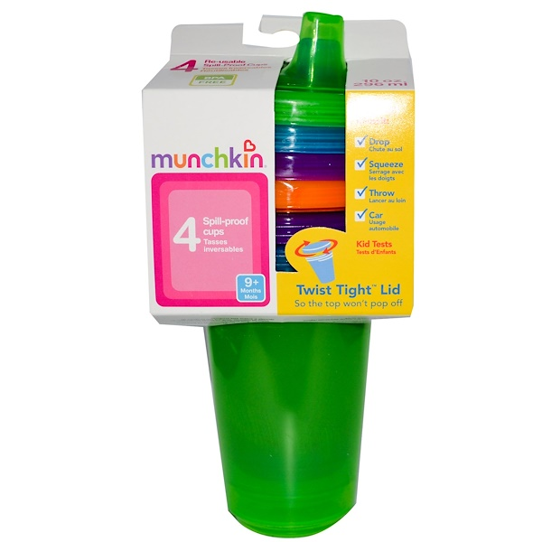 Munchkin, Re-Usable Spill-Proof Cups, 9+ Months, 4 Cups, 10 oz (296 ml) Each (Discontinued Item)