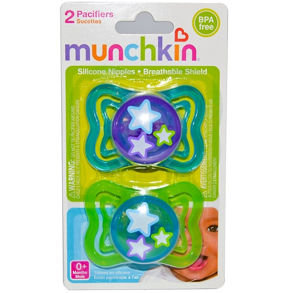 Munchkin, Pacifier, 0+ Months, 2 Pacifiers (Discontinued Item)