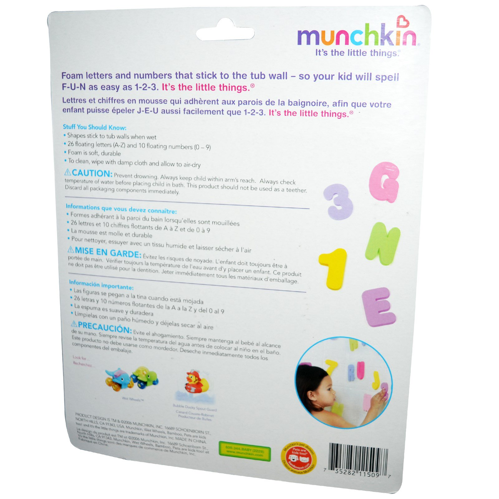 Munchkin, Bath Letters and Numbers, 3+ Years, 36 Pieces - iHerb.com