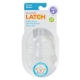 Munchkin, Latch, Stage 1 Nipples, 2 Pack