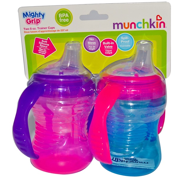 Munchkin, Mighty Grip Trainer Cups, 6+ Months, 2 Cups, 8 oz (237 ml) Each (Discontinued Item)