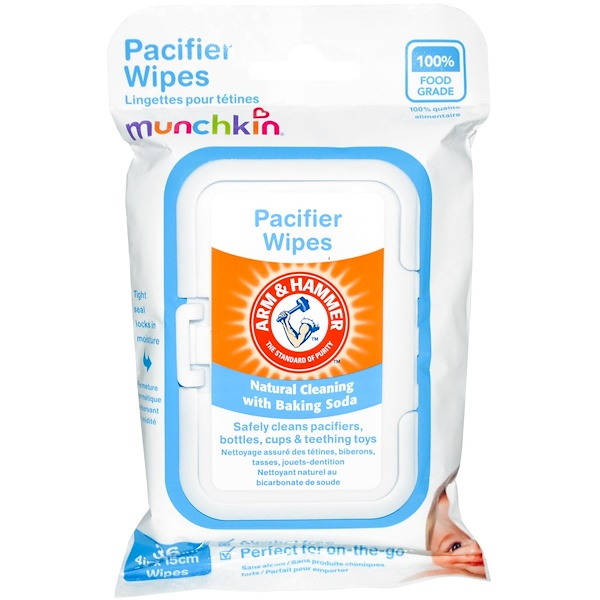 Munchkin, Arm & Hammer, Pacifier Wipes, 36 Wipes, 4 in x 6 in Each (Discontinued Item)