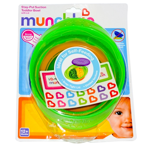 Munchkin, Stay-Put Suction Toddler Bowl with Lid, 12+ Months (Discontinued Item)