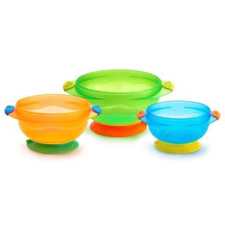 Munchkin, Stay-Put Suction Bowls, 6 + Months, 3 Bowls