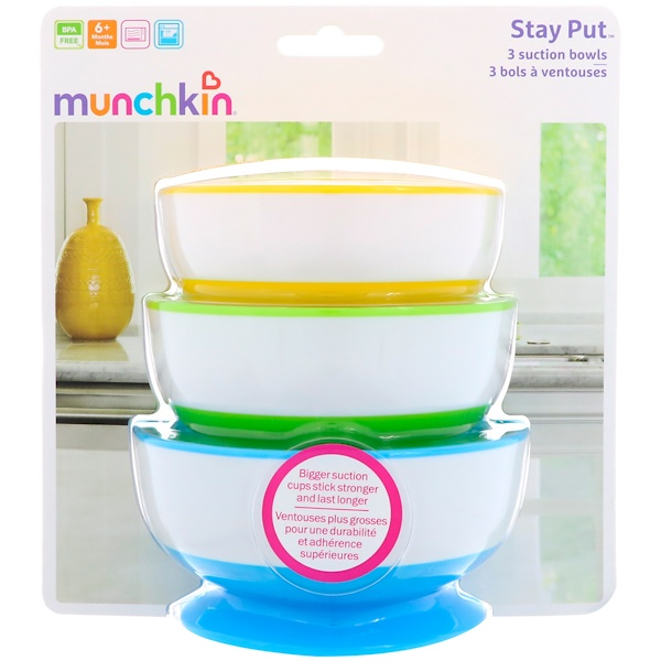 Munchkin, Stay Put Suction Bowls, 6+ Months, 3 Bowls