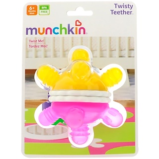 Munchkin, Twisty Teether Ball, 6+ Months, 1 Teether Ball