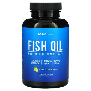 MAV Nutrition, Fish Oil, Premium Omega 3, Natural Lemon, 120 Softgels