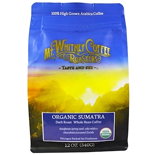 Mt. Whitney Coffee Roasters, Organic Sumatra, Dark Roast Whole Bean Coffee, 12 oz (340 g)