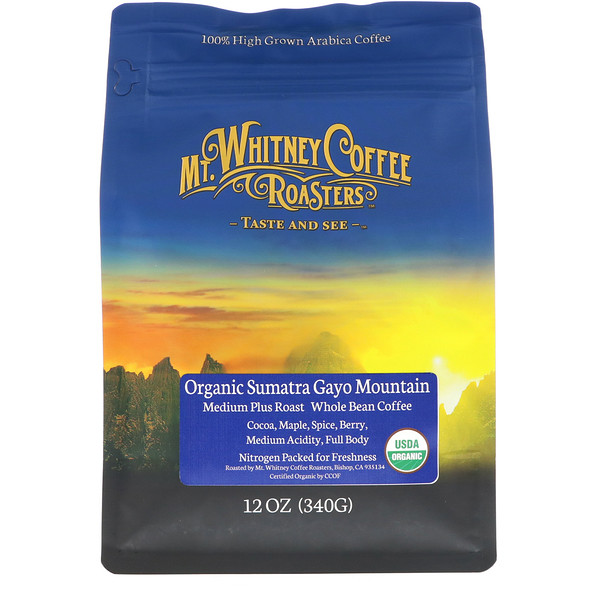 Mt. Whitney Coffee Roasters, Organic Sumatra Gayo Mountain, Medium Plus Roast, Whole Bean Coffee, 12 oz (340 g)