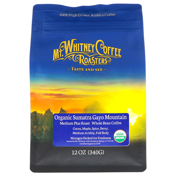 Organic Sumatra Gayo Mountain, Medium Plus Roast, Whole Bean Coffee, 12 oz (340 g)
