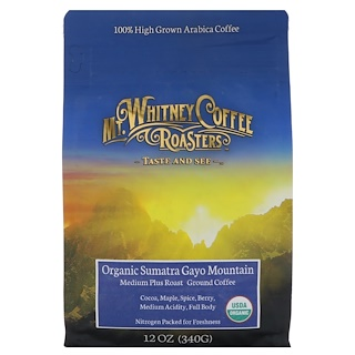 Mt. Whitney Coffee Roasters, Organic Sumatra, Ground Coffee, Dark Roast, 12 oz (340 g)