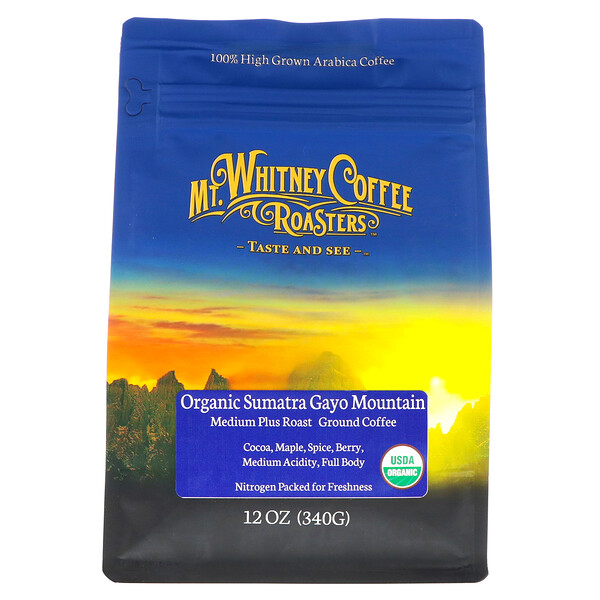 Organic Sumatra Gayo Mountain, Medium Plus Roast, Ground Coffee, 12 oz (340 g)