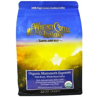 Mt. Whitney Coffee Roasters, Organic Mammoth Espresso, Dark Roast Whole Bean Coffee, 12 oz (340 g)