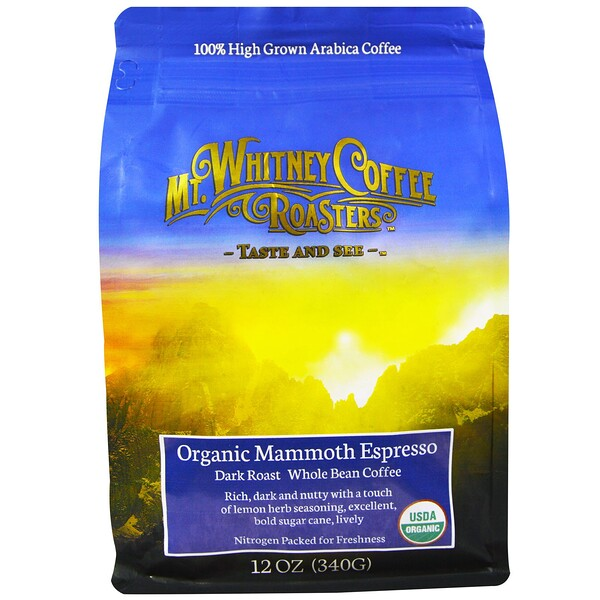 Organic Mammoth Espresso, Dark Roast Whole Bean Coffee, 12 oz (340 g)