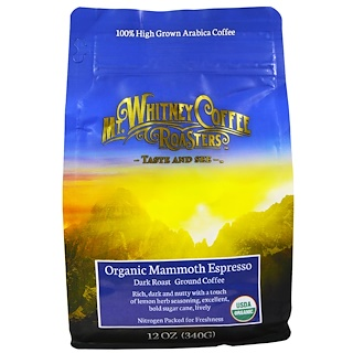 Mt. Whitney Coffee Roasters, Organic Mammoth Espresso, Dark Roast Ground Coffee, 12 oz (340 g)