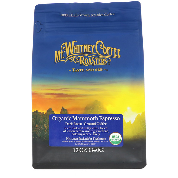 Mt. Whitney Coffee Roasters, Organic Mammoth Espresso, Dark Roast, Ground Coffee, 12 oz (340 g)