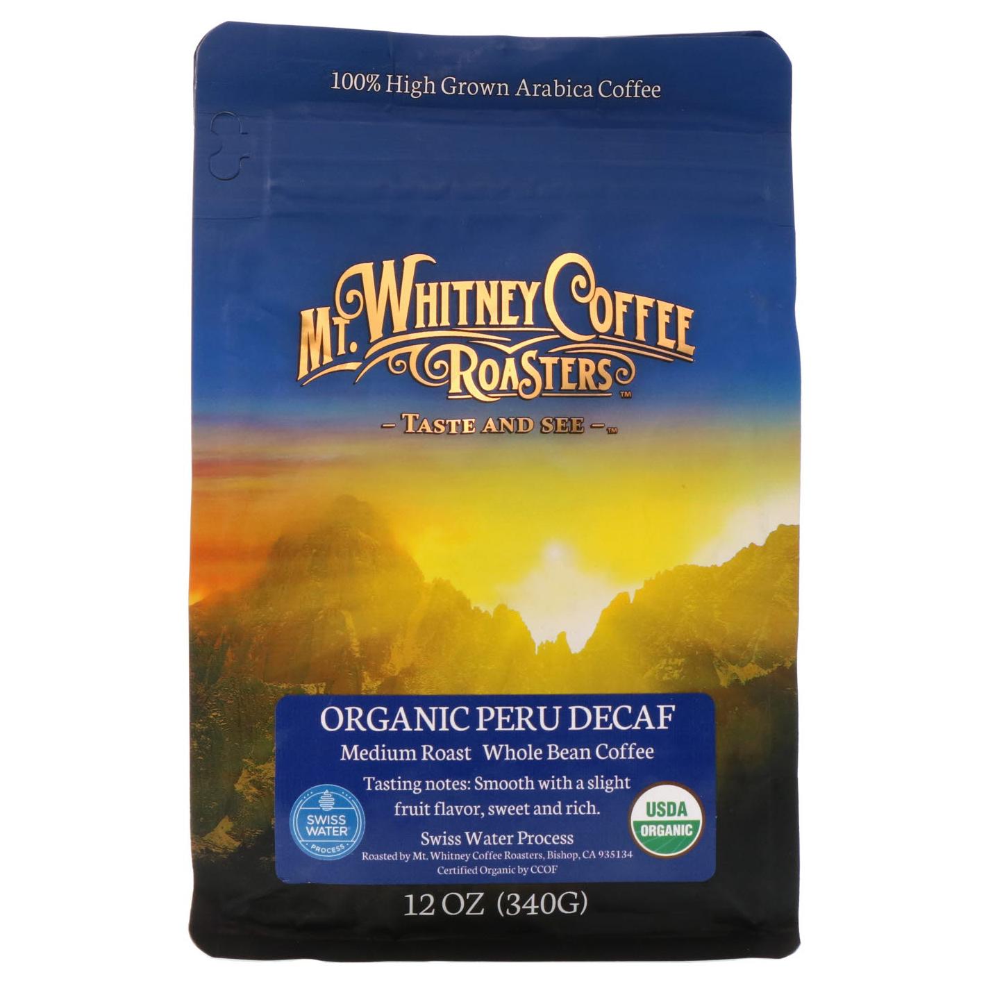 Mt. Whitney Coffee Roasters, Organic Peru Decaf, Whole Bean, 12 oz (