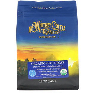 Mt. Whitney Coffee Roasters, Organic Peru Decaf, Medium Roast Whole Bean, 12 oz (340 g)