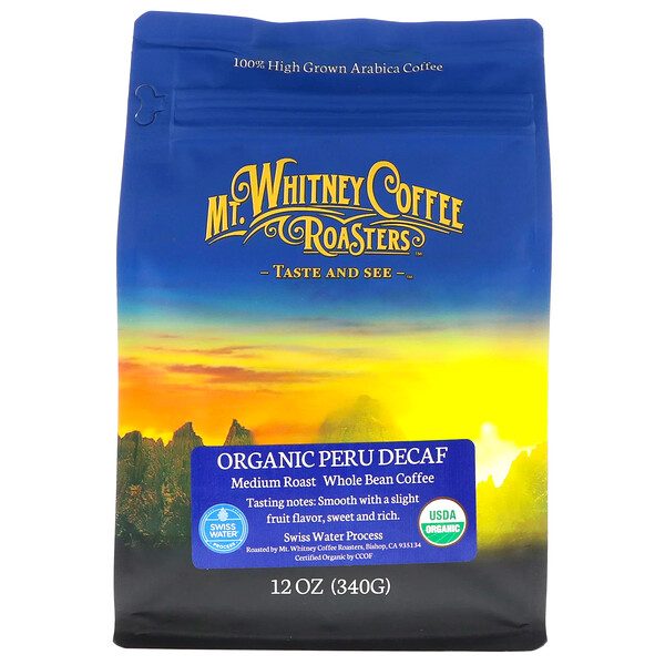 Organic Peru Decaf, Medium Roast Whole Bean, 12 oz (340 g)