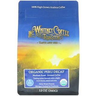 Mt. Whitney Coffee Roasters, Organic Peru Decaf, Ground Coffee, 12 oz (340 g)