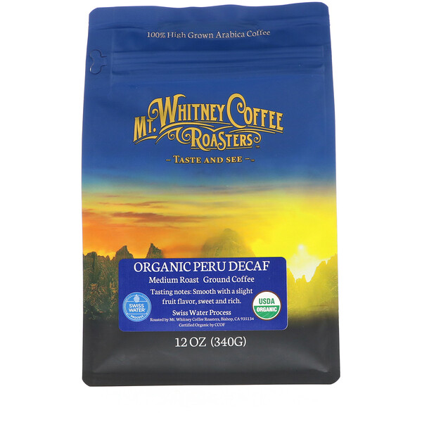 Mt. Whitney Coffee Roasters, Organic Peru Decaf, Medium Roast, Ground Coffee, 12 oz (340 g)