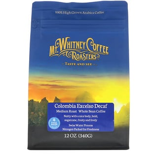 Mt. Whitney Coffee Roasters, Columbia Excelso Decaf, Medium Roast, Whole Bean Coffee, 12 oz (340 g)