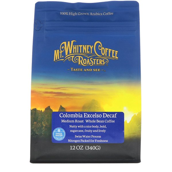 Mt. Whitney Coffee Roasters, Columbia Excelso Decaf, Medium Roast, Whole Bean Coffee, 12 oz (340 g) (Discontinued Item)
