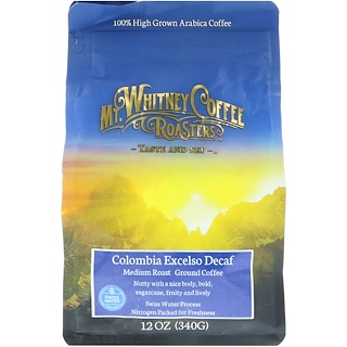 Mt. Whitney Coffee Roasters, Columbia Excelso Decaf, Ground Coffee, 12 oz (340 g)